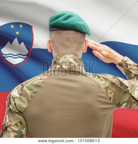 National Military Forces With Flag On Background Conceptual Series - Slovenia