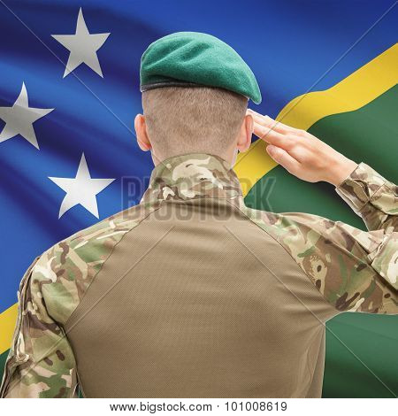 National Military Forces With Flag On Background Conceptual Series - Solomon Islands