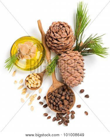 Cedar Pine Nuts And Oil, View From Above