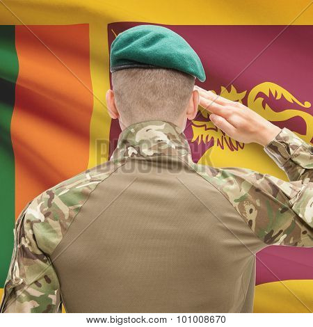 National Military Forces With Flag On Background Conceptual Series - Sri Lanka