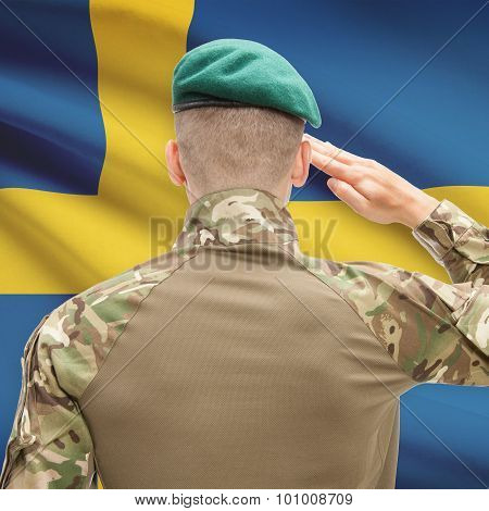 National Military Forces With Flag On Background Conceptual Series - Sweden