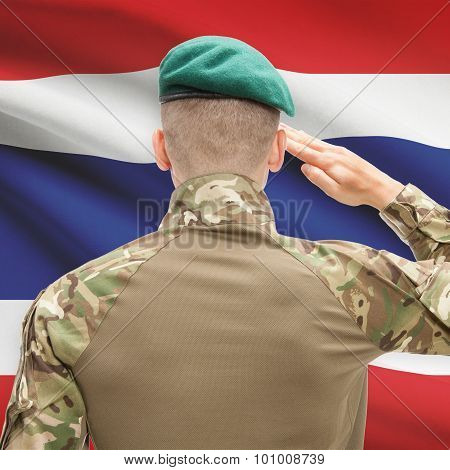 National Military Forces With Flag On Background Conceptual Series - Thailand