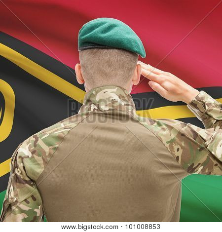 National Military Forces With Flag On Background Conceptual Series - Vanuatu