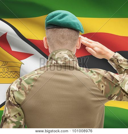 National Military Forces With Flag On Background Conceptual Series - Zimbabwe