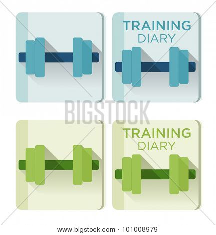Vector dumbbells and Training diary text for application icon