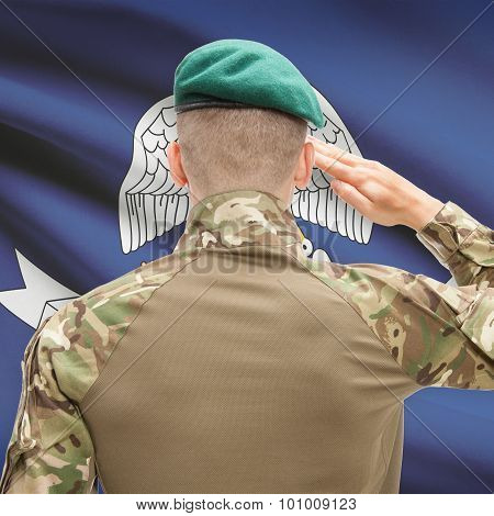 Soldier Saluting To Usa State Flag Conceptual Series - Louisiana