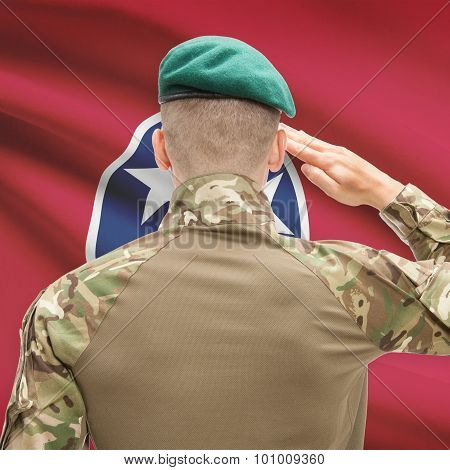 Soldier Saluting To Usa State Flag Conceptual Series - Tennessee