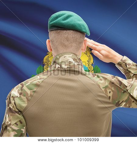 Soldier Saluting To Usa State Flag Conceptual Series - Vermont