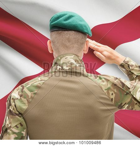 Soldier Saluting To Usa State Flag Conceptual Series - Alabama