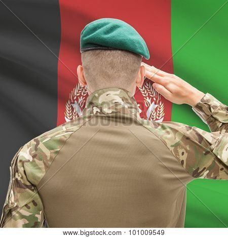 National Military Forces With Flag On Background Conceptual Series - Afghanistan