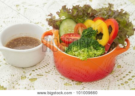 mix healthy salad and salad dressing ,fusion food