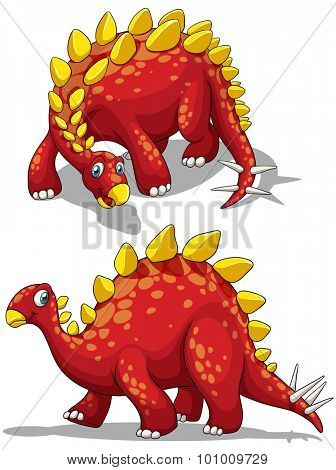 Dinosaur in red color illustration