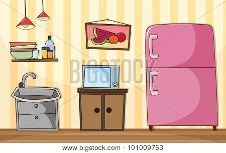 Kitchen room with full furnished  illustration