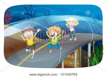Children running in the tunnel illustration