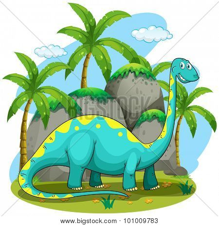 Long neck dinosaur standing in the field illustration