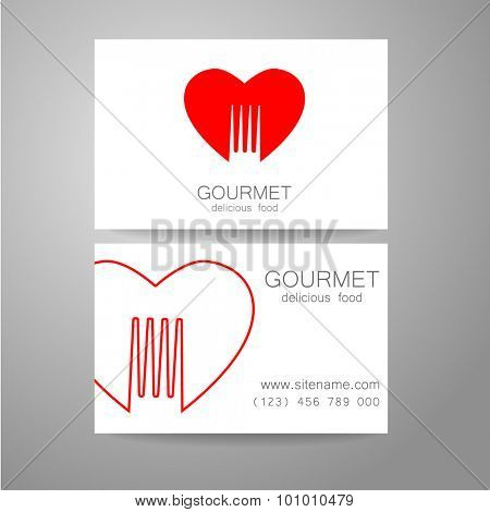Gourmet - restaurant logo. Design corporate brand and the business card of the restaurant with refined cuisine.