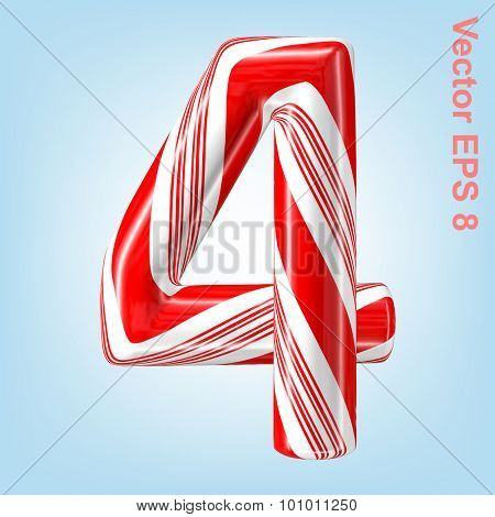 Mint hard candy cane vector number collection striped in Christmas colours. Figure 4. Eps 8 using mesh.