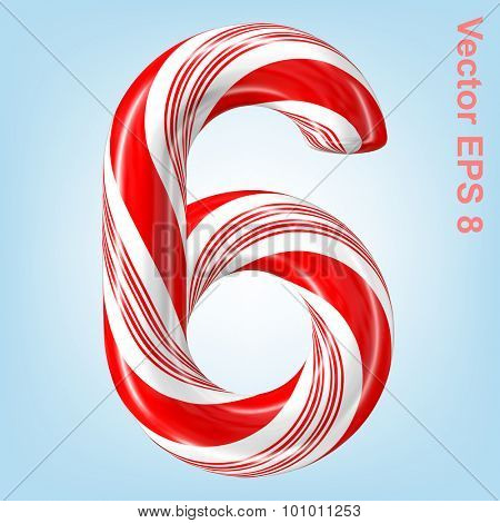 Mint hard candy cane vector number collection striped in Christmas colours. Figure 6. Eps 8 using mesh.