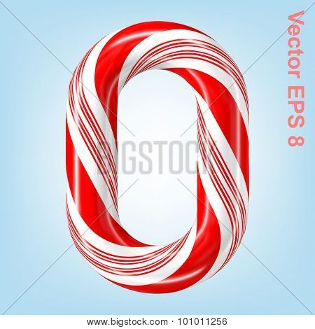 Mint hard candy cane vector number collection striped in Christmas colours. Figure 0. Eps 8 using mesh.