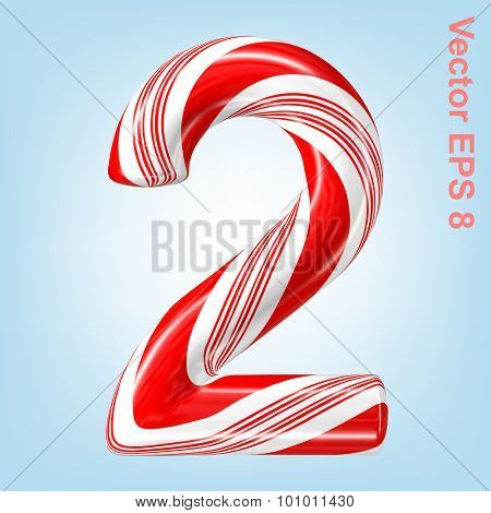 Mint hard candy cane vector number collection striped in Christmas colours. Figure 2. Eps 8 using mesh.