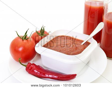 Tomatoes, Pepper And Ketchup.