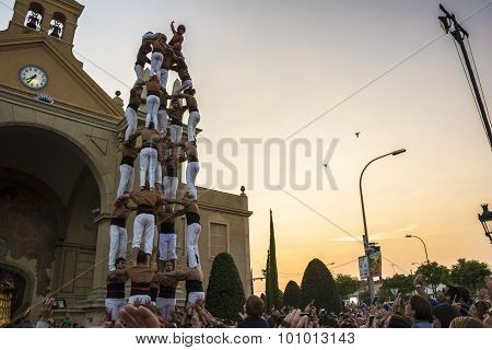 Castellers performance. Human tower