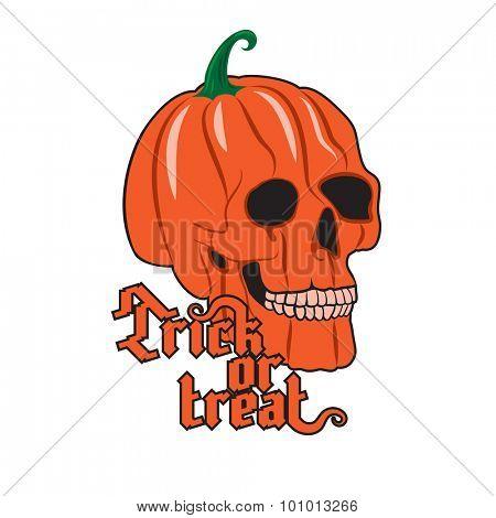 Halloween Pumpkin Skull on white background. Happy Halloween poster