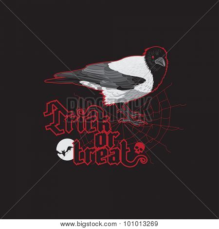 Halloween poster. Raven with Trick Or Treat Halloween gothic font
