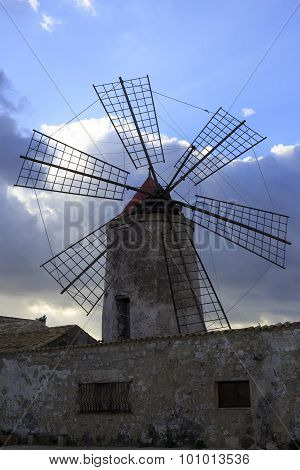 Salt Mills At Marsala, Sicily