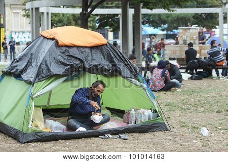 Syrian Immigrants Resting In Belgrade