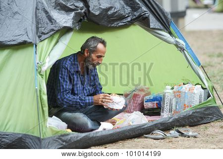 Syrian Refugee In Tent