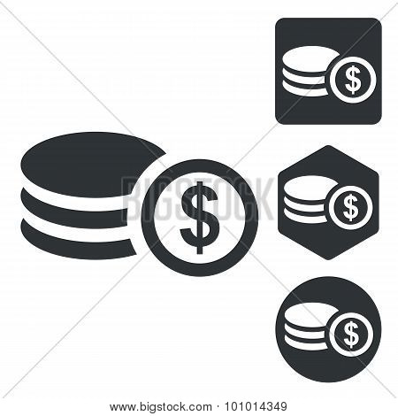Dollar rouleau icon set, monochrome