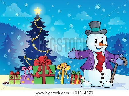 Christmas snowman theme image 6 - eps10 vector illustration.