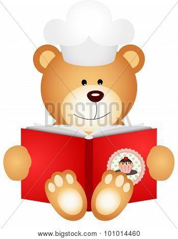 Teddy bear reading cookbook