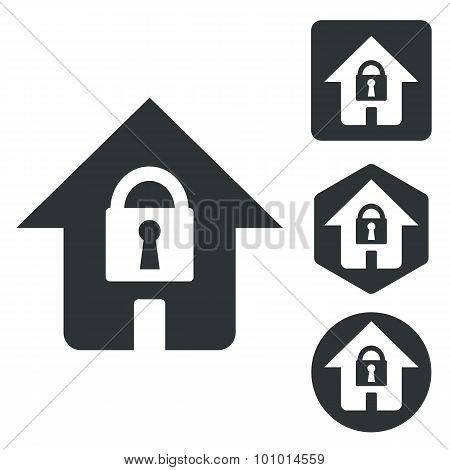 Locked house icon set, monochrome