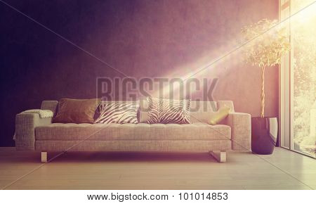 Bright glowing beam of sunlight falling on a comfy sofa and potted tree in a homely living room interior. 3d Rendering