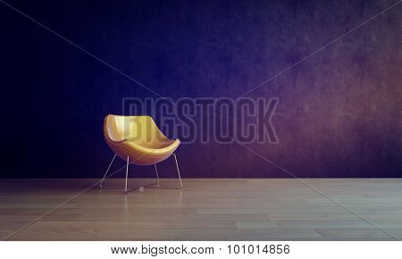 Single Modern Gold Colored Chair in Empty Room with Dark Gray Walls and Smooth Wooden Floor, in Warm Lighting. 3d Rendering