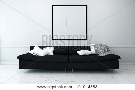 Black Sofa with White Cushions in Sparsely Decorated Modern Living Room with Minimalist Artwork on Wall. 3d Rendering