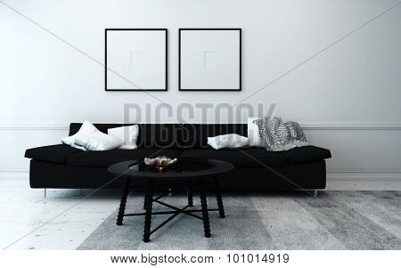 Sparsely Decorated Modern Living Room with Black Sofa, Coffee Table, and Artwork Hanging on Wall with White Decor Accents. 3d Rendering