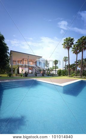 Exterior of Luxury Home - Rear View from Back Yard Showing In-Ground Swimming Pool, Palm Trees, and Two Storey House with Glass Balconies. 3d Rendering.