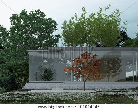 Architectural Exterior of Modern Glass Single-Storey House in Isolated Forest Setting Surrounded by Trees. 3d Rendering.
