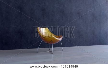 Single Modern Gold Colored Chair in Empty Room with Dark Gray Walls and Smooth Wooden Floor. 3d Rendering.