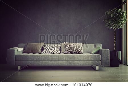 Illuminated sofa in a living room interior bathed in a soft glow offering a comfortable tranquil place to relax. 3d Rendering