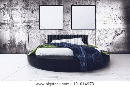 Round Bed and Minimalist Framed Artwork in Modern Loft Bedroom with Exposed Concrete Walls - Contemporary Bedroom with Industrial Feel. 3d Rendering