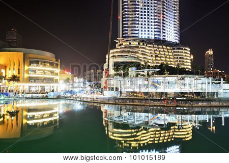Dubai, Uae - September 9: The Night View On Dubai Mall And Address Hotel. It Is The World's Largest