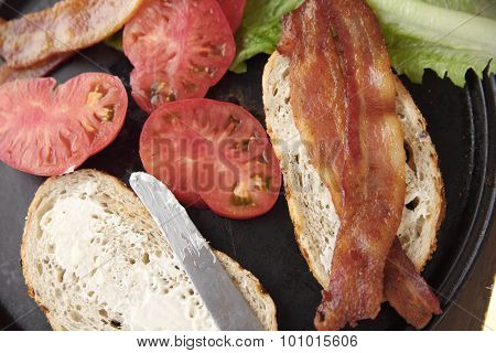 Ingredients for BLT sandwich