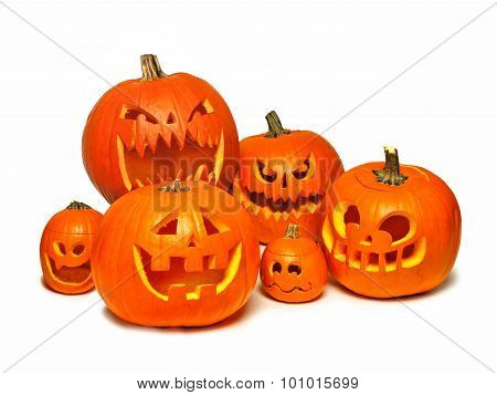 Group of Halloween Jack o Lanterns over white