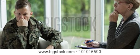 Soldier Visiting A Professional Therapist
