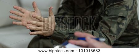 Soldier In Uniform - Closeup Of Hands