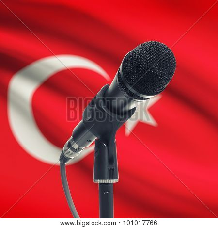 Microphone On Stand With National Flag On Background - Turkey